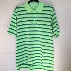 Adidas Golf lime green striped polo Sz M